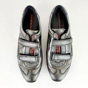 Prada Sport Gray Metallic Velcro Sneakers 37.5 / 7